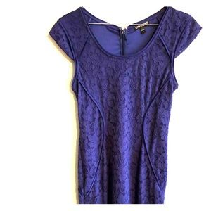 Express Dress Royal Blue Lace Fitted Size 2